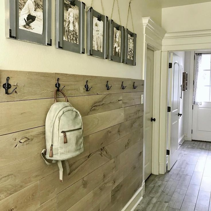 One of my favorite spots in my house (and it's a hallway ) Free plan for the planked wall and the…""