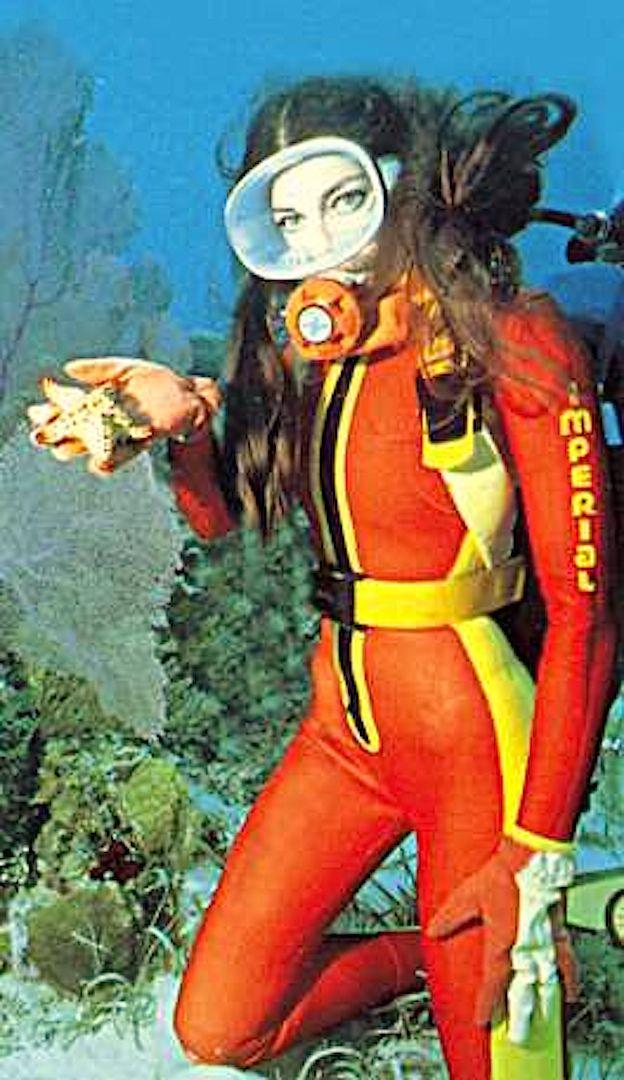 From underwater vintage woman