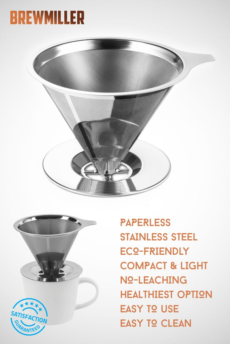 $12.45 BrewMiller Stainless Steel Coffee Filter - for Paperless Pour Over Coffee Brewing - Reusable Drip Cone Coffee Filter
