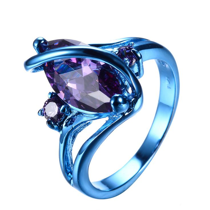 New Blue Gold Filled Stone Rings For Women Men Halloween Party Band Jewelry Fashion Purple Zircon Crystal Wedding Ring RC0002