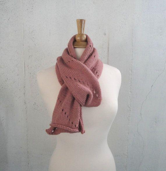 Knitted Wool Scarf & Earwarmer Headband Rose Pink by Girlpower