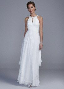 You will look breathtaking in this majestic wedding dress!  Sleeveless bodice features keyholeround neckline that is adorned with shimmering beads.  Cut out backdetail gives this dress a unique focal point.  Long soft layered skirt gives this dress a magical feel.  Natural waist.  Fully lined. Imported polyester. Back zip. Dry clean only.  To protect your dress, try our Non-Woven Garment Bag.