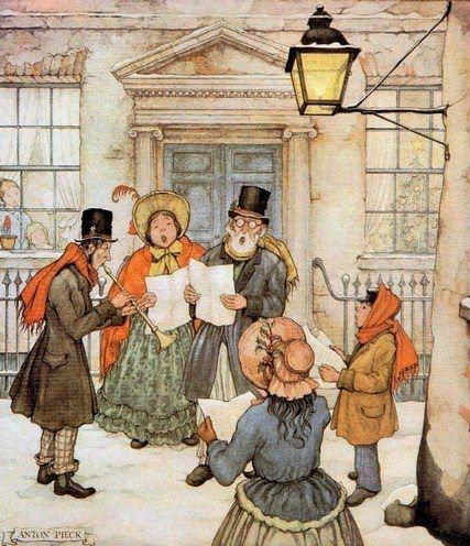 Anton Pieck (Dutch painter, artist, graphic artist; 1895-1987) ~ Cantori sotto il lampione [Singers Under the Street Lamp]