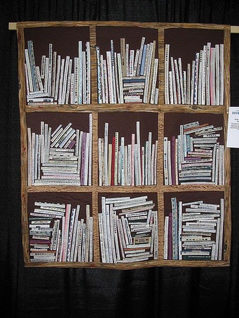 A bookshelf quilt made from selvedges. I wish I knew who the quilter was to give proper credit! This is amazing!