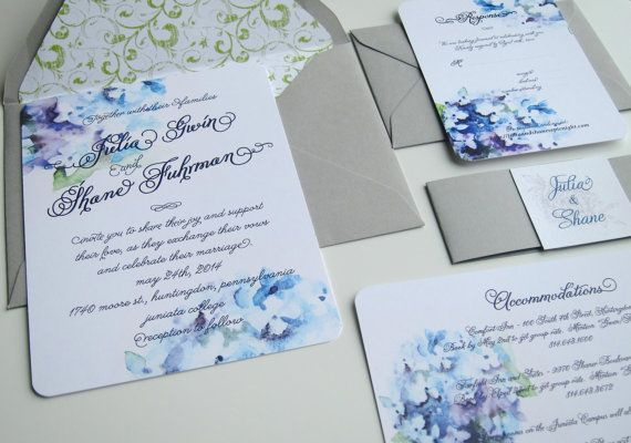 Hydrangea Wedding Invitation Suite - White and Blue Linen w/ Belly Band - Hydrangea Flower - Watercolor