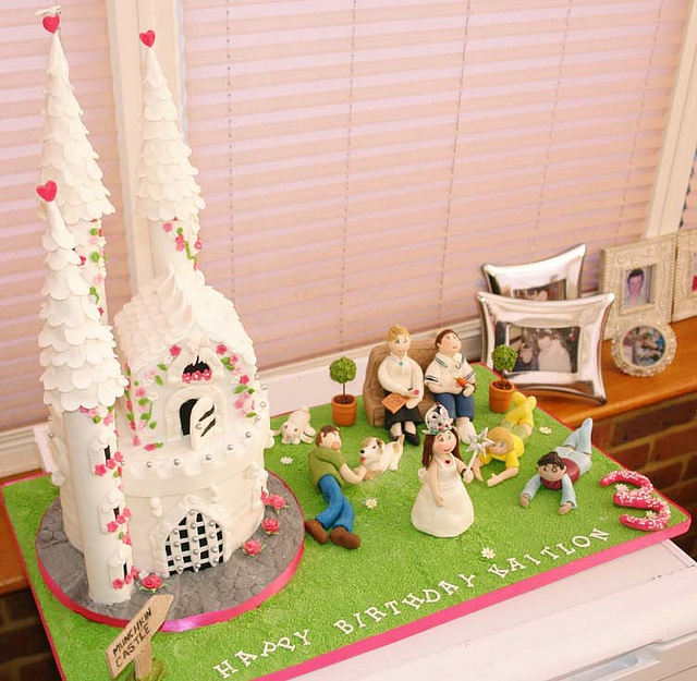 Munchkins Castle cake by Sarah Jane Cake Boutique a beautiful two tier castle cake with the Princess and her family