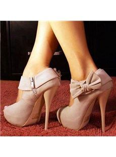Noble Pink Lovely Bowtie Peep Toe High Heel Shoes