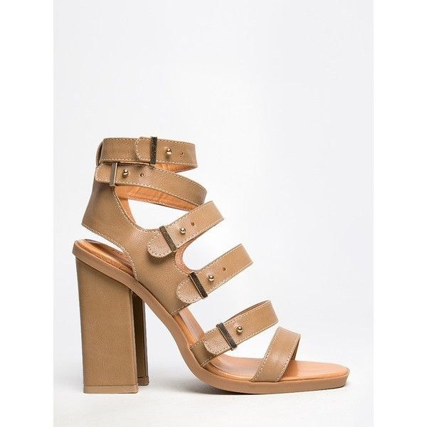 IVERSON-03 SANDAL ($28) ❤ liked on Polyvore featuring shoes, sandals, nude, strappy high heel sandals, sexy high heel sandals, buckle sandals, nude sandals and high heel shoes