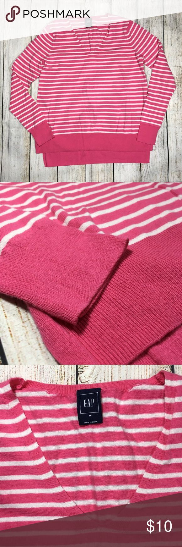 "Gap Womens V Neck Striped Lightweight Sweater M Gap  Womens Sz Medium V-Neck Sweater  Lightweight  Long Sleeve Striped - Pink White  Excellent condition! Measurements taken laying flat: Chest: 18.5"" Sleeve length from armpit: 19"" Overall length front: 23.5"" back: 25.5"" Bottom width: 20.75"" GAP Sweaters V-Necks"