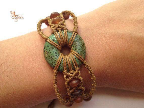 Handwoven ceramic macrame bracelet with par creationsmariposa, $37.00