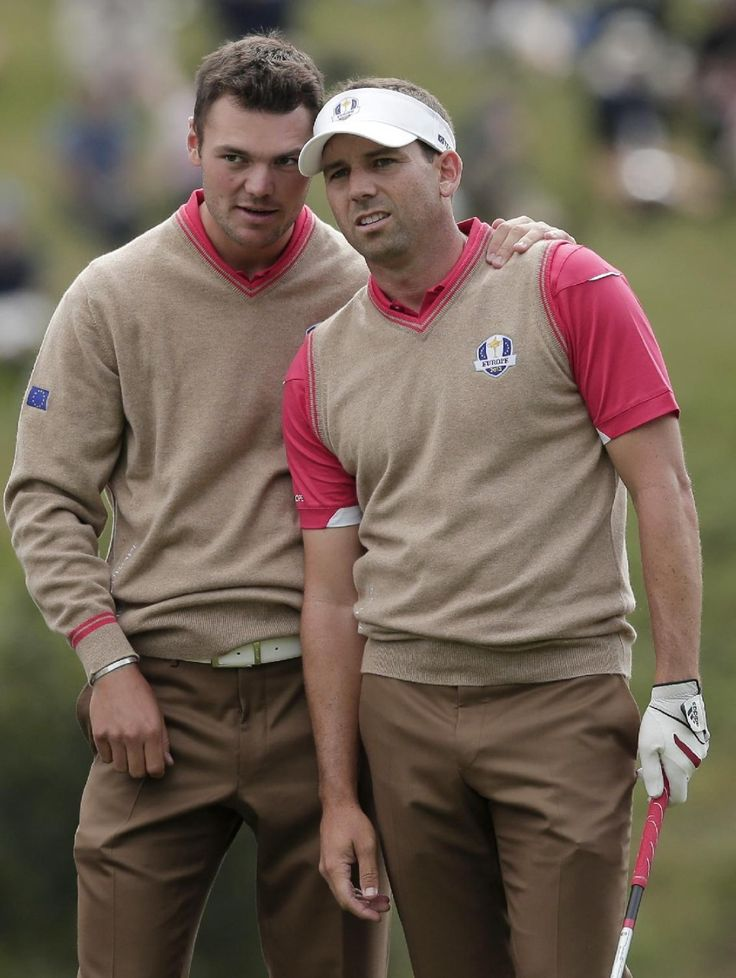 Europe's Martin Kaymer, left, talks to Sergio Garcia during a practice round at the Ryder Cup PGA golf tournament Thursday, Sept. 27, 2012, at the Medinah...