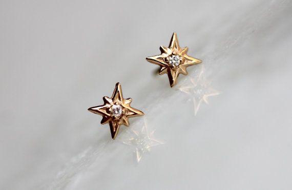 14k Gold Diamond North Star Studs Diamond Studs by LieselLove