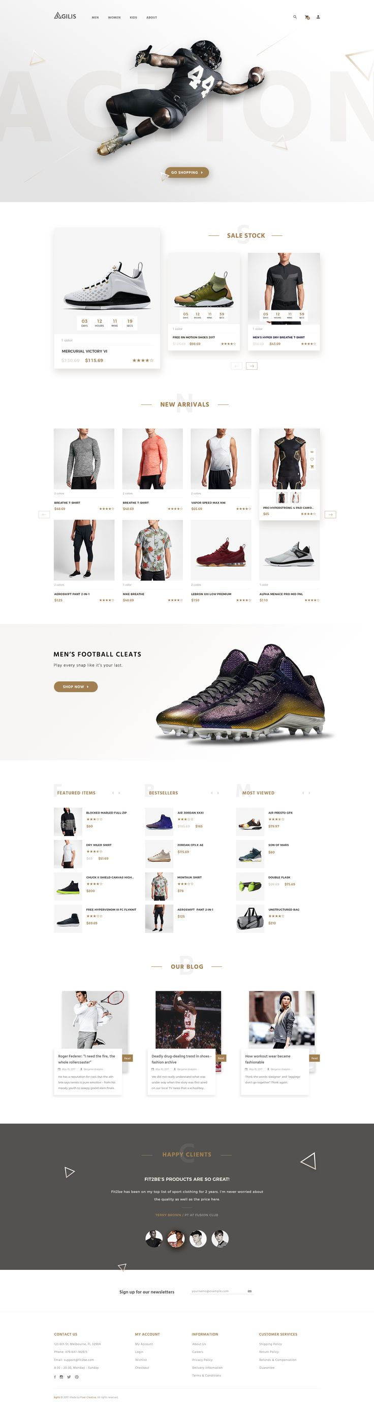 Agilis_Sport Good Store - PSD Template #ecommerce #fashion #shoe • Download ➝ https://themeforest.net/item/agilis_sport-good-store-psd-template/20194323?ref=pxcr - Love a good success story? Learn how I went from zero to 1 million in sales in 5 months with an e-commerce st
