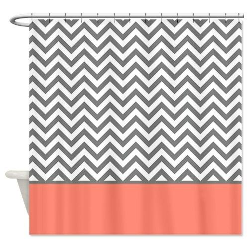 Grey and Coral Chevron Shower Curtain Zig Zag Designs #coralchevronshowercurtainglam #showercurtainglamour