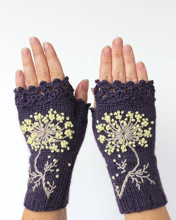 Knitted Fingerless Gloves Flower Gloves & by nbGlovesAndMittens