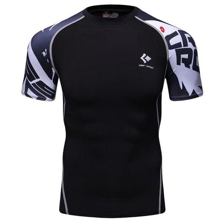 Men Compression Shirts Skin Tight Thermal under Short Sleeve Jerseys Rashguard MMA Crossfit Exercise Workout Fitness Sportswear