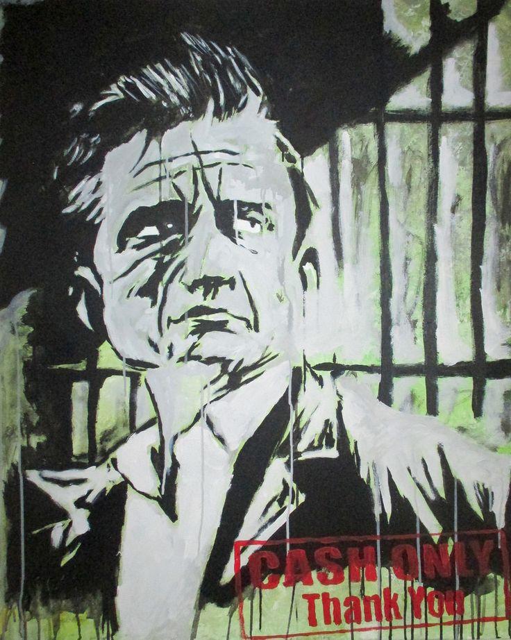 Johnny Cash Acrylic On Canvas 100x80 Cm Artist: York