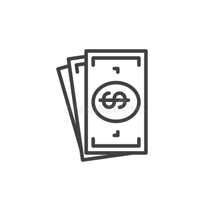 Cash money line icon, outline vector sign, linear style ...