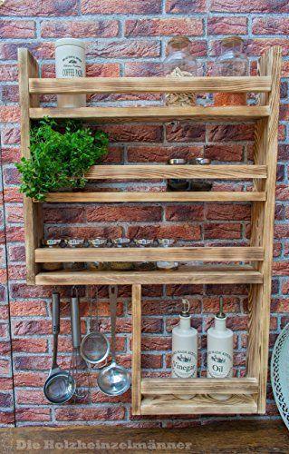 Gewürzregal aus Holz mit noch mehr Platz – hergestellt aus recyceltem Altholz – Upcycling Regal –