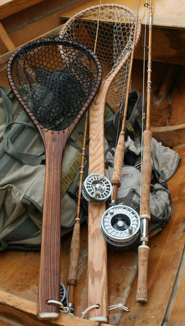 Beautiful handmade fishing nets with elk antler accents.