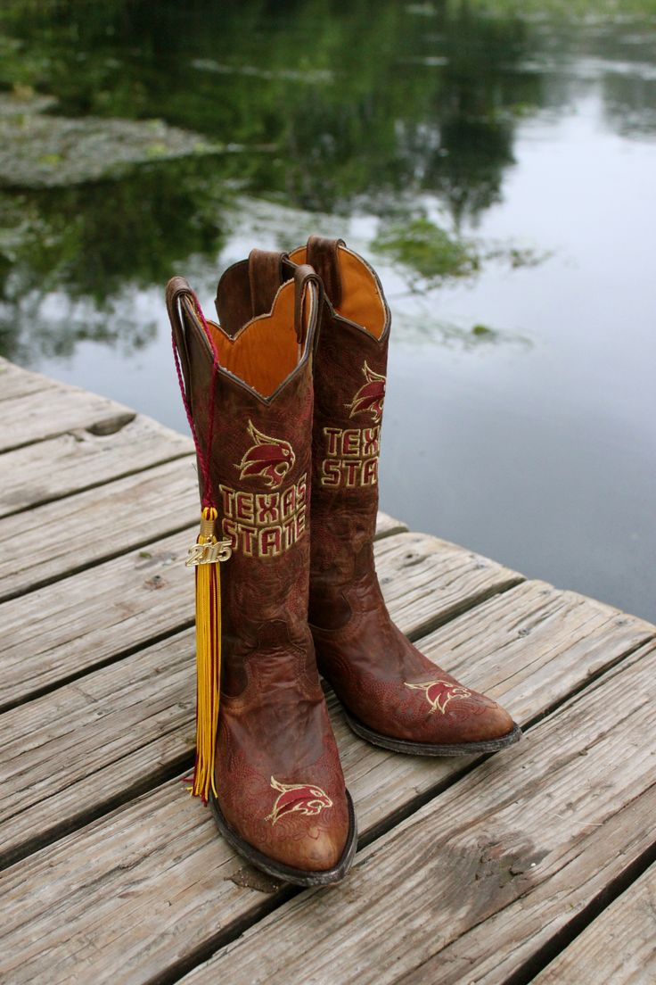 Texas State University Cowboy Boots - Texas State Bobcats - San Marcos River