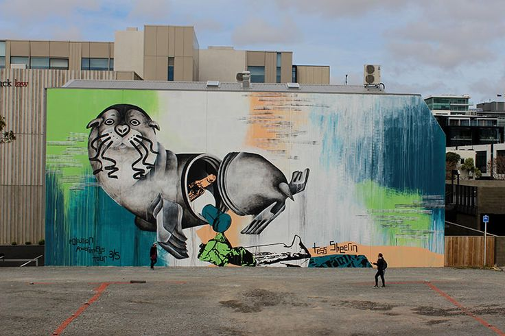 """""""Unsealed"""" has finally arrived in Christchurch's CBD - 12 days later, the third mural of the New Zealand's Worth Loving tour is finished!  I hope that as well as brightening up another grey area in Christchurch during the rejuvenation period, people will think twice before littering and consider how harmful just a small action like that can harm our beautiful wildlife, like the NZ fur seal. Animals have no say but we do."""
