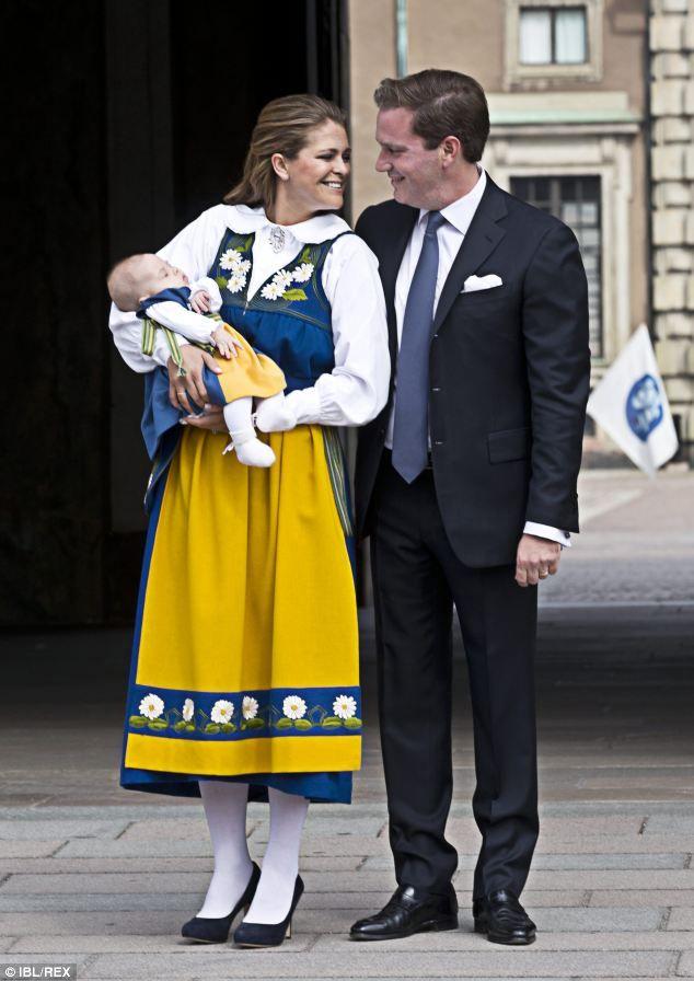Patriotic: Princess Madeleine of Sweden, husband Christopher O'Neill and Princess Leonore ...