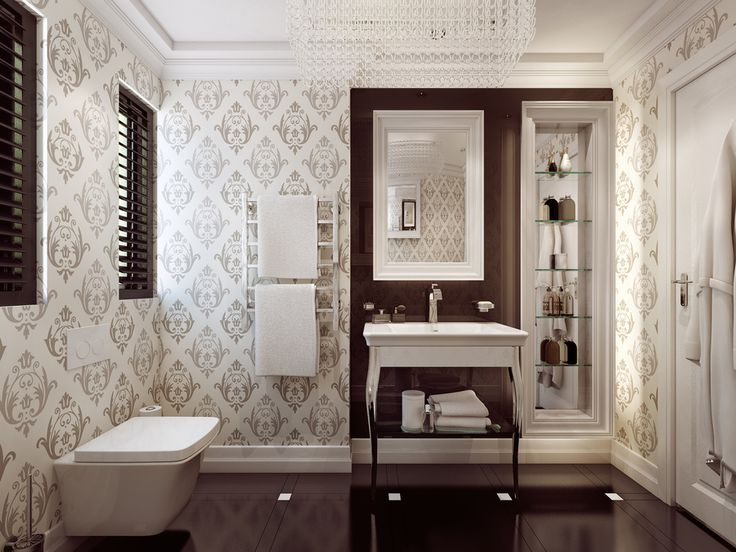 Wallpaper in guest bathrooms is very trendy as this space is more about design. It goes without saying that guest bathrooms need to be functional too, so consider installing a heated towel rail.
