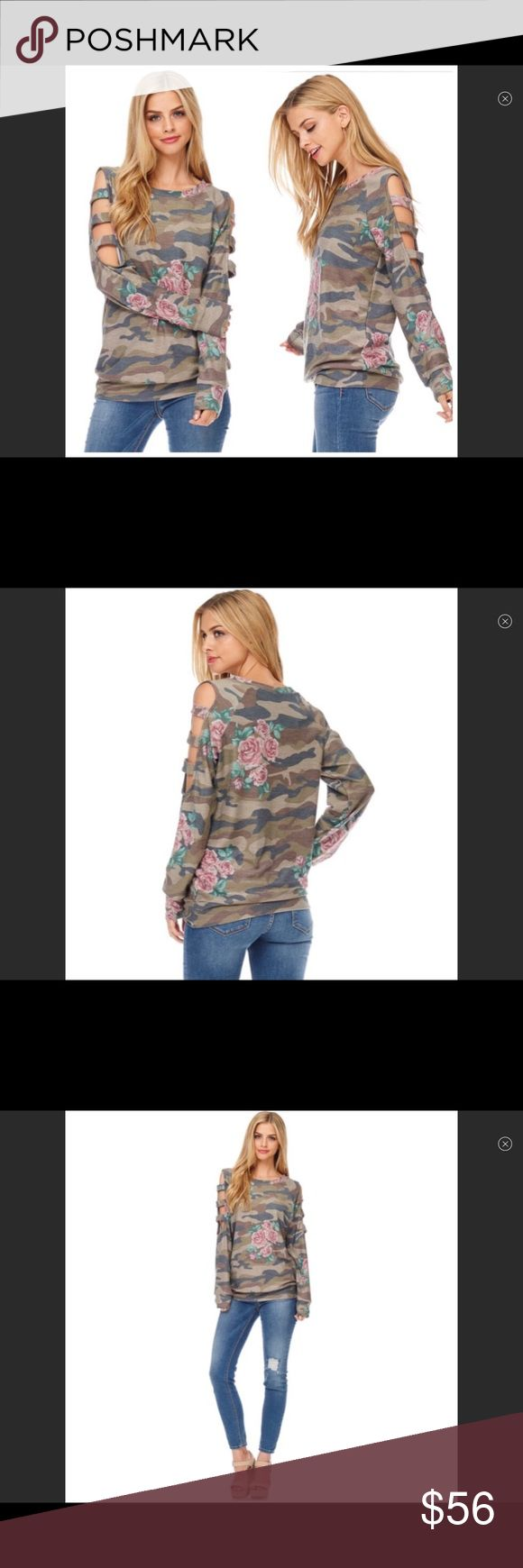 COMING SOON!  Camouflage Floral Ladder Top Camouflage floral ladder sleeve tunic top.  Polyester/Rayon/Spandex Couture Gypsy Tops Tunics