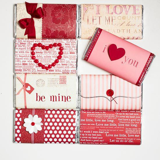Wrapped in Love.  Cover your valentine's favorite chocolate bar for a sweet gift in just minutes. Add ribbon, buttons, stamps, or cutouts to make it even more personal.