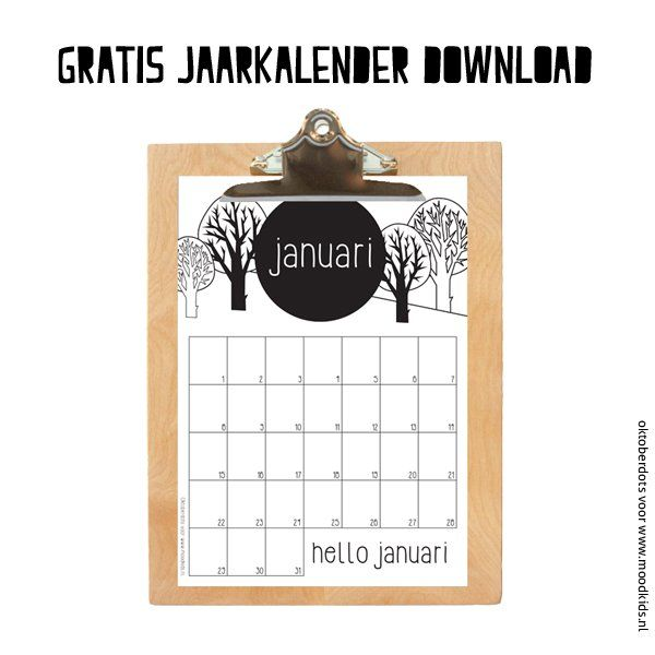 gratis jaarkalender download januari