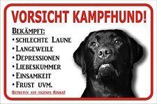 """Schild S0450 Labrador Retriever schwarz """"Kampfhund"""" Gr. 15x20 bis 60x40cm Hund"""