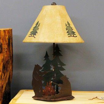 Bears Roasting Marshmallows Rustic Lamp | Bear Cabin Decor & Lighting