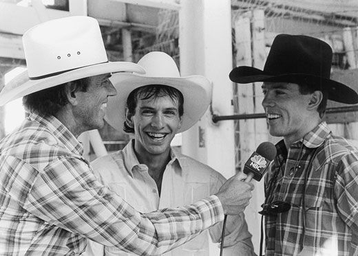 George Michael interviewed Lane Frost and Tuff Hedeman the day Frost died at the 1989 Cheyenne (Wyo.) Frontier Days Rodeo. Michael befriended the legendary bull riders early in their young careers, and helped them take their sport to new heights. A friend to the end, a grateful Hedeman made the journey to Washington, D.C. to attend Michael's memorial service. Photo by Sue Rosoff .