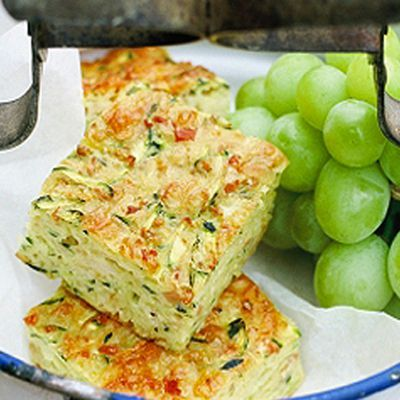 5 eggs, 150 g flour, 1 teaspoon baking powder, 375g grated zucchini, 1 large onion, finely chopped, 200g bacon, finely chopped, 1 cup shredded cheddar cheese, 60 ml of olive oil, butter for the pan