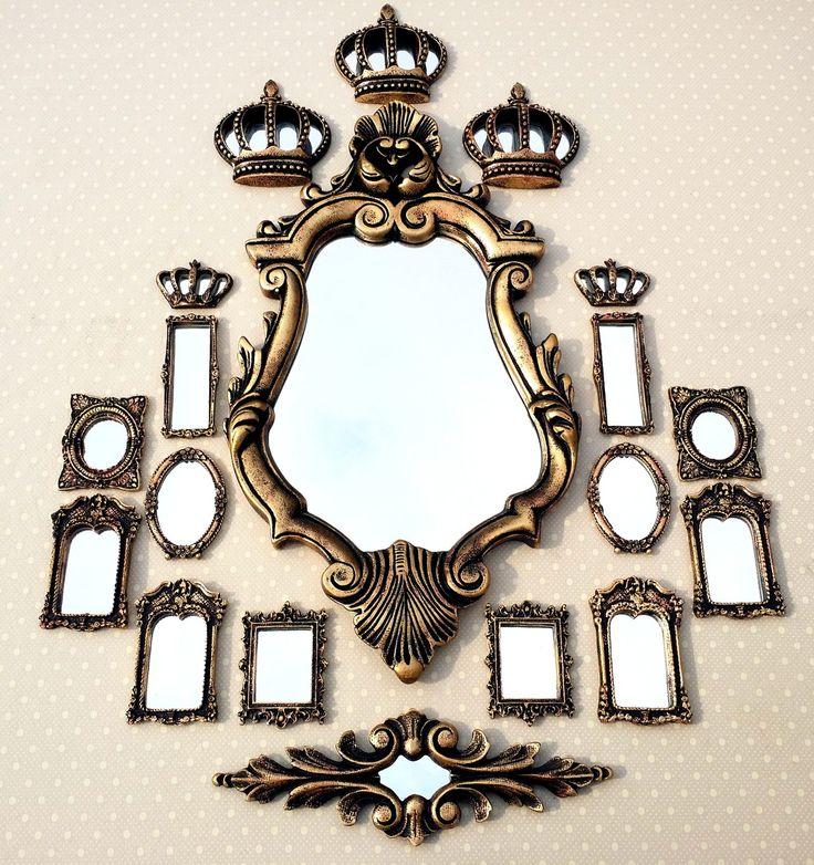 Kit Vitoriano 13 Espelhos Ouro Velho