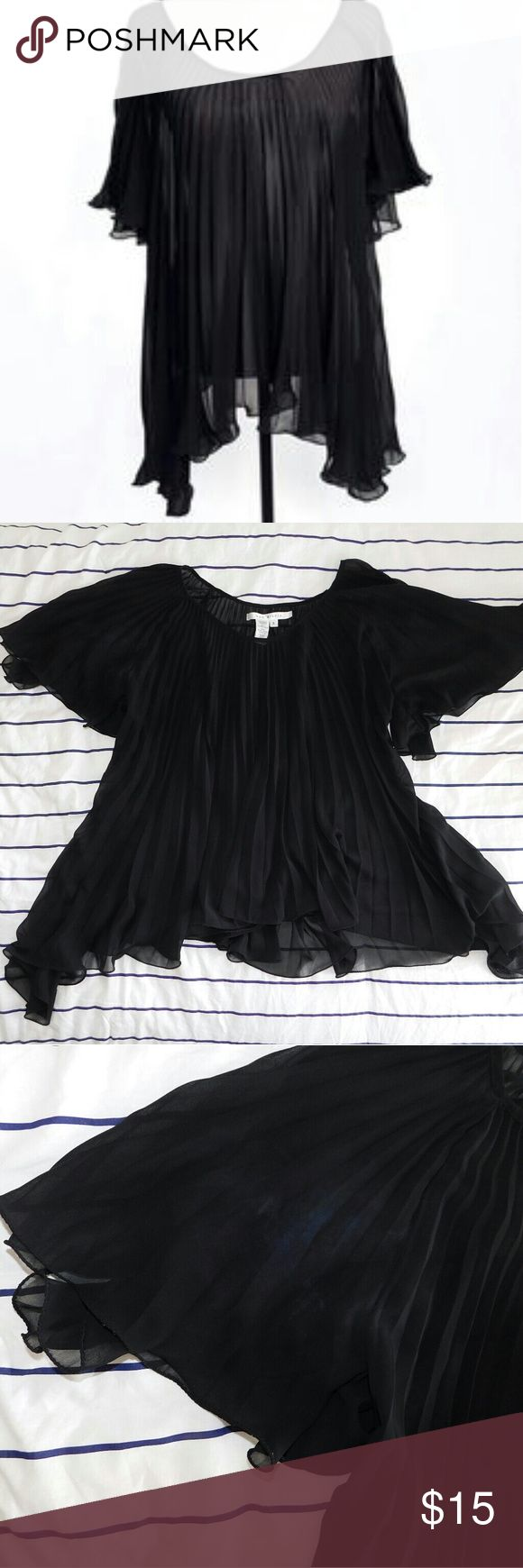 Max Studio Black Sheer Pleated Batwing Top Like new! Has no flaws! Has a lettuce hem! 100% polyester. Says Small but when I was 80 pounds heavier it fit me! Max Studio Tops