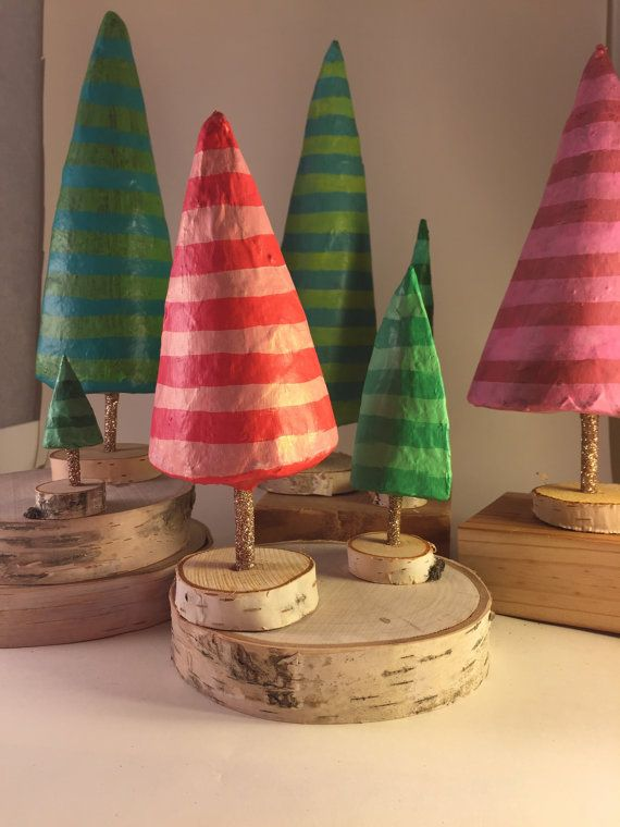 Paper Mache Christmas Tree Pink and Red by SarahHandArt on Etsy