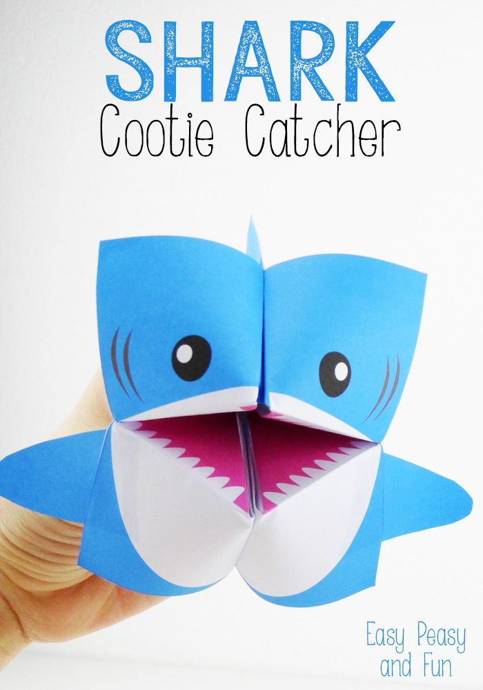 Tiburón Cootie Catcher - proyecto Diversión adivino de Origami para niños (con una impresión libre y las instrucciones)