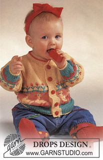 """DROPS jacket with ducks and flowers and socks in """"Safran"""". - Free pattern by DROPS Design"""