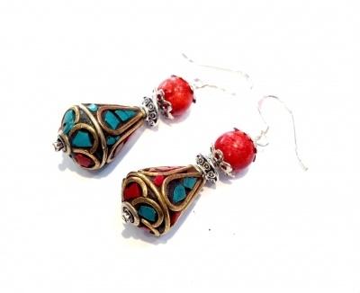Boucles d'oreilles corail en argent bijoux ethnique
