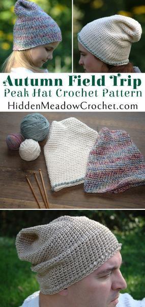 Autumn Field Trip Peak Hat Crochet Pattern For Sale Designed by Hidden Meadow Crochet
