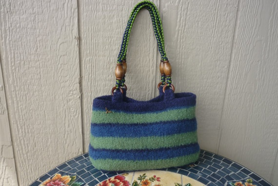 Handknitted Felted Purse Bag Green Blue Stripe with by FeltGarden, $58.00