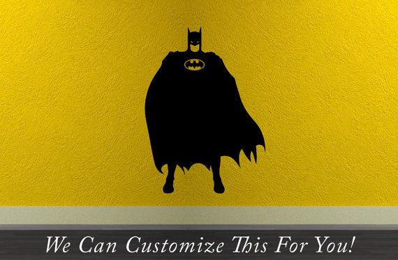 Batman figure standing with waving cape in wind super hero silhouette with old batman logo wall vinyl decal decor 2168 on Etsy, $19.99