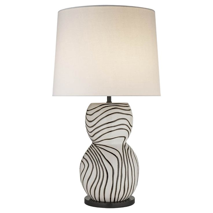 Balla large table lamp white black w linen shade