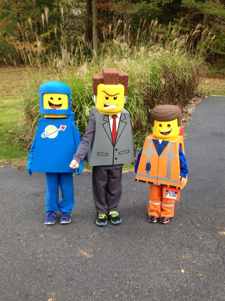 We made the Lego movie character Halloween costumes out of foam sleeping mats.