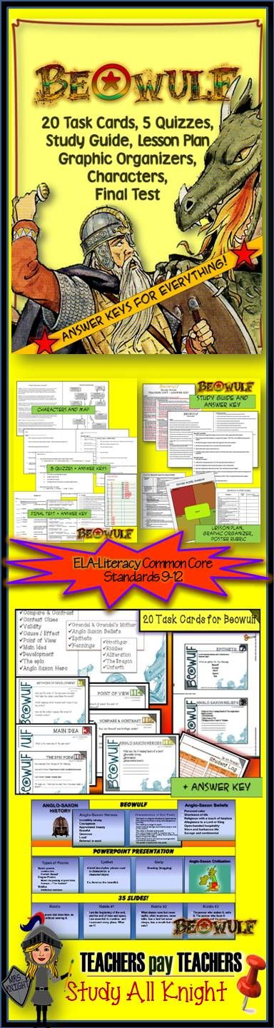 Danielle Knight's Beowulf pack!! Includes- 20 Task Cards and answer key -Frayer Model lesson plan -Frayer Model Graphic Organizer -poster rubric -Study guide and answer key -5 quizzes and answer keys -Final test and Answer key character map graphic organizer and character descriptions -Riddles -The zip file includes the PowerPoint file as the original for you to edit. Look at the characteristics of an ancient hero and his triumphs while exploring Anglo Saxon culture.