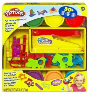 Play-Doh: Fun Factory Deluxe Set by Hasbro Toy. $17.99. Over 30 pieces!. 6 Play-doh cans included!. For ages 3 and up. The Fun Factory Super Set has everything you need to roll, mold and extrude lots of fun shapes. The two extruder rails have 10 more patterns for extruding long strips of Play-Doh. It contains six 5-ounce cans of Play-Doh molding compound and over 30 Play-Doh accessories. More than 30 pieces in all.. Save 40%!