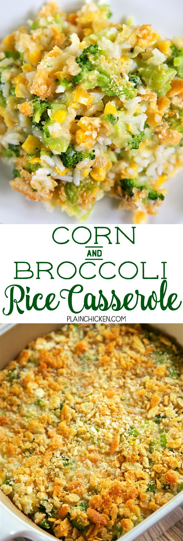 1-1/2 cups cooked rice 1 (10-oz) package frozen chopped broccoli, thawed and drained 1 (14.75-oz) can creamed corn 1 egg, beaten 1/2 tsp onion powder 1/4 tsp garlic powder 1/2 cup crushed Ritz crackers 1/4 cup butter, melted  350 for 25-30 min