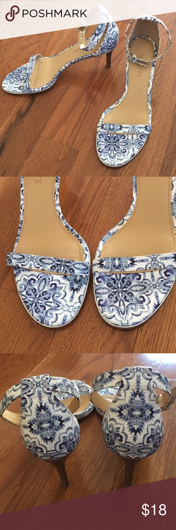 Talbots Heeled Sandals Gorgeous blue/white patterned heel with on-trend ankle silver toned ankle strap. Leather upper/man-made lower. Just some wear to bottoms as pictured and reflected in price Talbots Shoes Heels